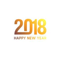 Nouvel an 2018 doré épuré sur fond blanc