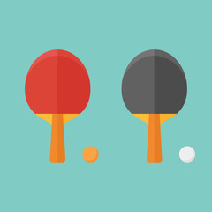 Set of table tennis bats and balls isolated on background. Flat style vector illustration.