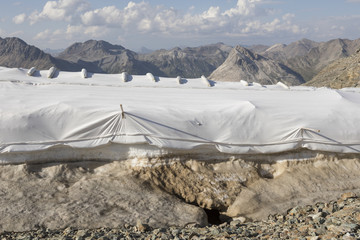 Snow farming on Diavolezza: Snow is covered with a flies against the melting, Switzerland