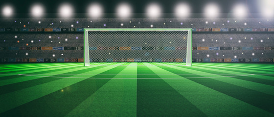 Illuminated soccer stadium at night. 3d illustration