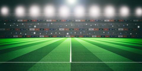 Illuminated soccer stadium at night. 3d illustration
