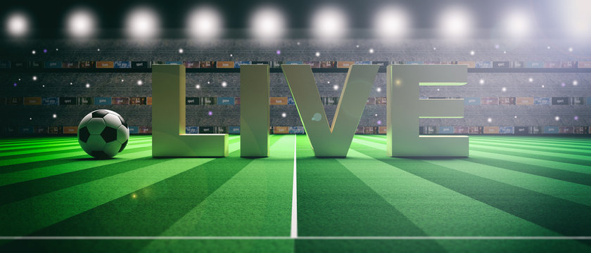 Text LIVE on a soccer football field background. 3d illustration