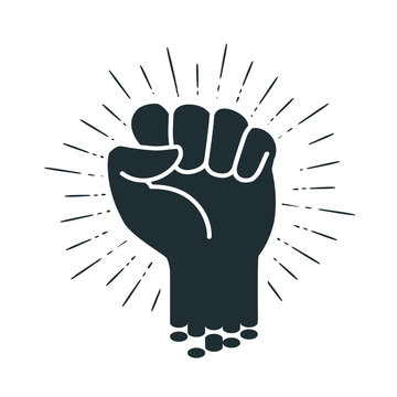 Male clenched fist, logo or label. Power, force, strength icon. Vector illustration