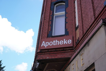 Apotheke, pharmacy sign in German language