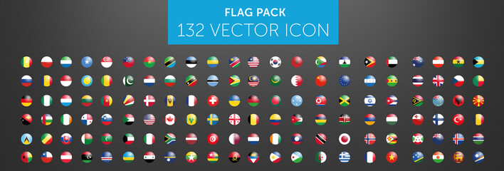 WORLD FLAG vector collection 132 circle icon with reflects