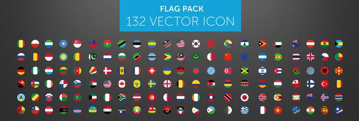 Fototapeta WORLD FLAG vector collection 132 circle icon  obraz