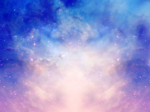 Mystical magic background with stars, galaxy, Universe in pink blue colors
