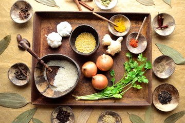 Indian food ingredients on the rusted tray