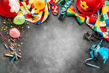 Spoed Fotobehang Carnaval Border of rainbow colored carnival accessories