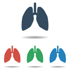 Human Lungs icon set - simple flat design isolated on white background, vector