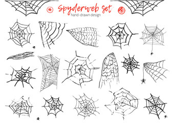 Grunge monochrome set of spider web and spiders isolated on white background for halloween design. Hand drawn decoration