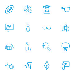 Set Of 16 Editable Education Outline Icons. Includes Symbols Such As Jumping, Student, Magnifier And More. Can Be Used For Web, Mobile, UI And Infographic Design.