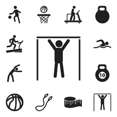 Set Of 12 Editable Active Icons. Includes Symbols Such As Basketball, Exercise, Sportsman And More. Can Be Used For Web, Mobile, UI And Infographic Design.