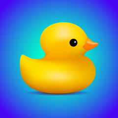 Realistic cute yellow duck on a bright blue neon background