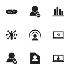 Set Of 9 Editable Internet Icons. Includes Symbols Such As Monitor, Wifi, Delete Member And More. Can Be Used For Web, Mobile, UI And Infographic Design.