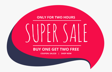 sale poster design with chat bubble