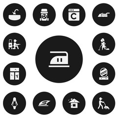 Set Of 13 Editable Cleanup Icons. Includes Symbols Such As Wall Mirror, Appliance, Vacuuming And More. Can Be Used For Web, Mobile, UI And Infographic Design.