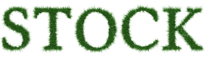 Stock - 3D rendering fresh Grass letters isolated on whhite background.
