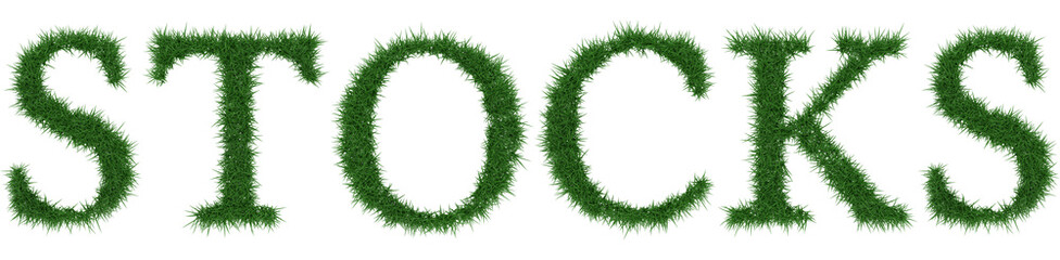 Stocks - 3D rendering fresh Grass letters isolated on whhite background.