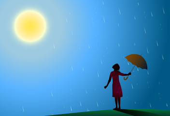 Young girl in red dress standing in the rain pulls aside red umbrella to look at bright sun, rain is over,