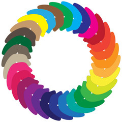 Vector image of a circle of colored abstract shapes