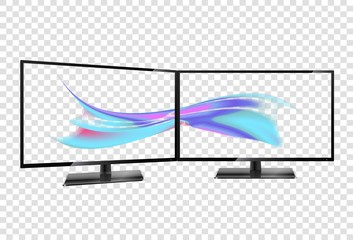 Two desktop monitors full hd aspect ratio 16:9. Multiple Screen. Multiple wallpaper on transparent screens.