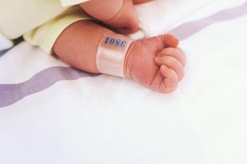 Newborn baby first days of life after childbirth.