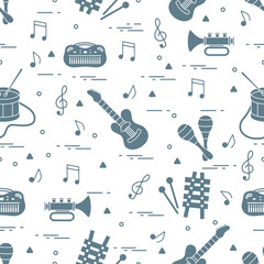 Vector pattern of sheet music and different musical toys: guitar, drum, trumpet, xylophone, maracas and other.