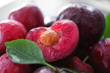 Fresh ripe plums, closeup