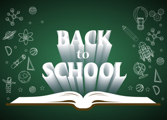 Back to school  of poster and banner and  green background for  education related. Vector illustration.