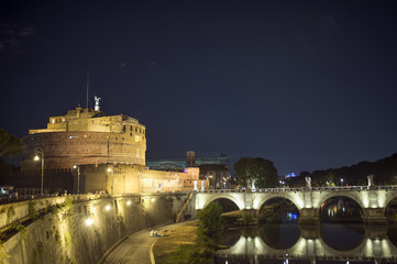 The Mausoleum of Hadrian, usually known as Castel Sant'Angelo and the Sant'Angelo bridge illuminated by night