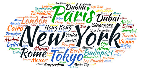Words cloud famous Cities