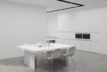 White kitchen with a table, corner