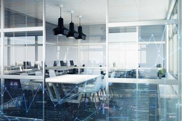Glass meeting room interior, corner double