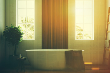 White and wooden bathroom, white tub closeup toned
