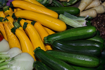 Golden and green zucchini.