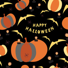 Halloween seamless pattern with pumpkins and burning candles, inscription and bats on a colored background