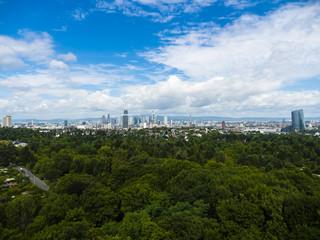 Skyline von Frankfurt, Bankenviertel , Hennigerturm, EZB, Commerzbank, Frankfurt, Hessen, Deutschland,