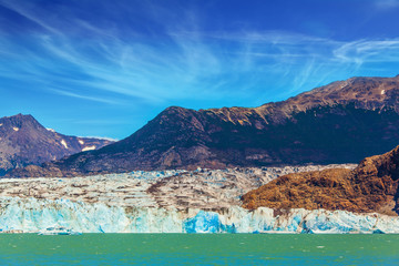 Massive glacier descends into the water