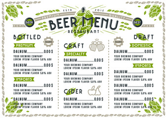 Beer menu for cafe and restaurant