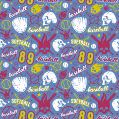 Baseball and softball seamless pattern