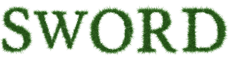 Sword - 3D rendering fresh Grass letters isolated on whhite background.