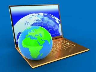 3d golden computer and globe
