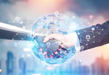 Planet, network, businessman and robot handshake