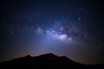 Landscape with milky way galaxy over high moutain, Night sky with stars.