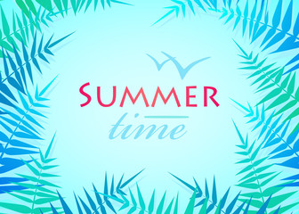 Hello Summer Holiday poster. Traveling template poster. Party poster with palm leaf and lettering summer time.