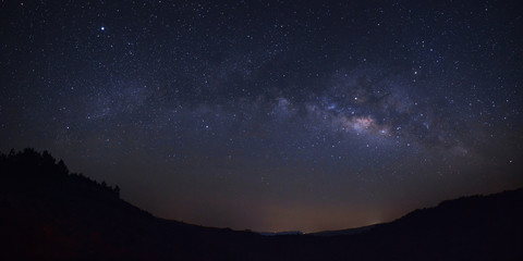 panorama milky way galaxy over moutain at Phu Hin Rong Kla National Park,Phitsanulok Thailand