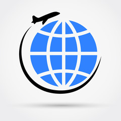 Airplane travel icon vector illustration.