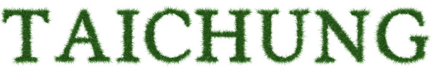 Taichung - 3D rendering fresh Grass letters isolated on whhite background.