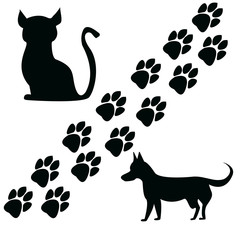 Cat and dog silhouettes Paw marks
